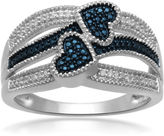 JCPenney FINE JEWELRY 1/10 CT. T.W. White and Color-Enhanced Blue Diamond Double-Heart Ring