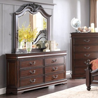 Astoria Grand Boltongate 6 Drawer Double Dresser with Mirror