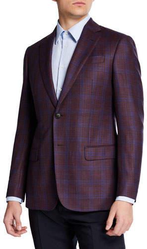 Emporio Armani Men's Super 130s Plaid Sport Coat