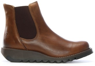 Fly London Salv Camel Leather Wedge Chelsea Boots