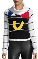 Alice + Olivia Zita Eye Heart U Crop Turtleneck Sweater
