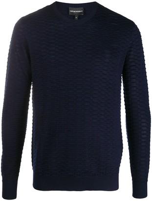 Emporio Armani Textured Knit Crewneck Jumper