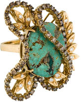Ring 18K Turquoise & Diamond Cocktail