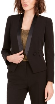 Bar III Tuxedo Satin-Trim Open-Front Double-Breasted Blazer, Created For Macy's