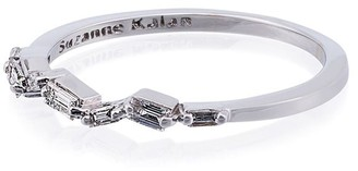Suzanne Kalan 18K White Gold and diamond Baguette Thin Band