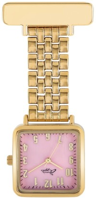 Bermuda Watch Company Annie Apple Mother Of Pearl Pink & Gold Square Nurse Fob Watch