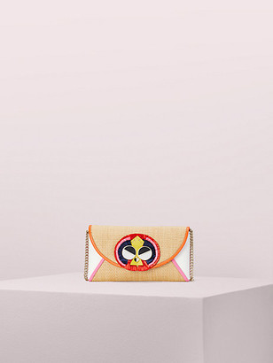 Kate Spade Spademals Raffia Preeny Peacock Chain Clutch