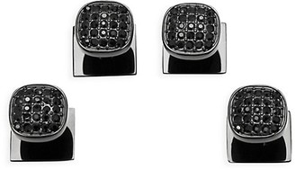 Cufflinks Inc. Ox & Bull Trading Co. 4-Piece Black Stainless Steel & Black Pave Crystal Studs