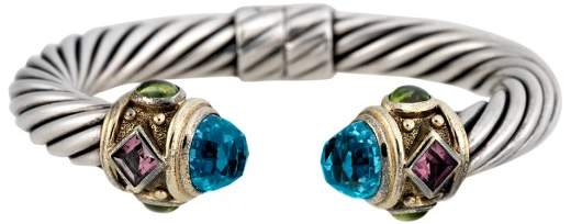 David Yurman Sterling Silver and 14K Yellow Gold with Blue Topaz, Peridot and Pink Tourmaline Renaissance Bracelet