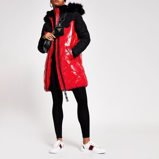 River Island Womens Red padded faux fur quilted coat