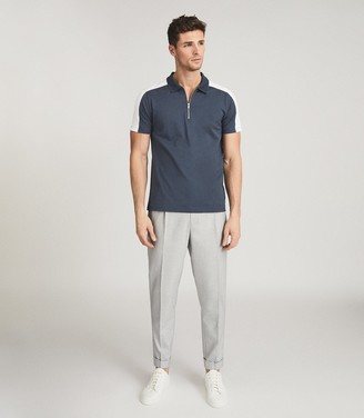 Reiss HACKNEY COLOUR BLOCK ZIP NECK POLO SHIRT Airforce Blue