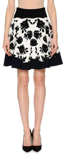 Alexander McQueen Rose-Jacquard Knit Flare Short Skirt
