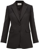 Valentino Single-breasted Lace-trimmed Wool-blend Blazer - Womens - Black