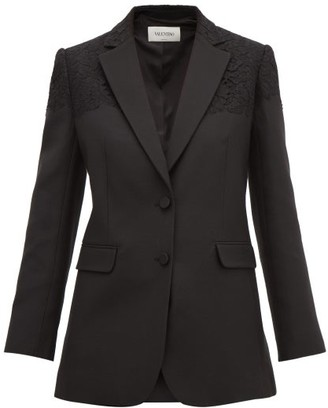 Valentino Single-breasted Lace-trimmed Wool-blend Blazer - Black