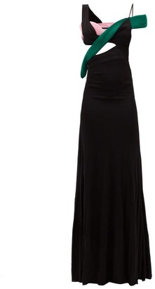 Haider Ackermann Cutout Colour-block Crepe Gown - Black Multi