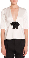 Saint Laurent Bow V-Neck Peplum Top, Flesh