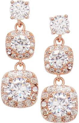 Cezanne Rose goldtone Crystal Double Drop Earrings