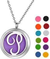 "SG Stainless Steel Aromatherapy Essential Oil Diffuser Necklace with ""V"" Letter,Silver Tone"