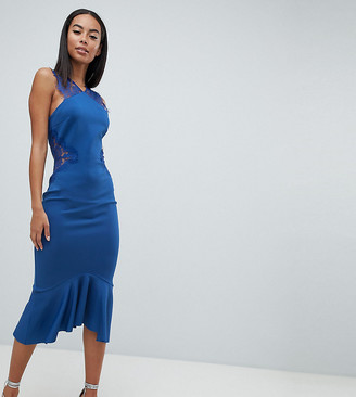 Asos Tall DESIGN Tall scuba lace insert pephem midi dress-Blue