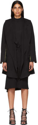 Ann Demeulemeester Black and Khaki Tie-Up Wool Coat
