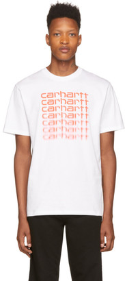 Carhartt Work In Progress White and Orange Fading Script T-Shirt