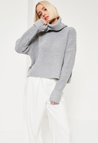 Missguided Grey Chunky Stitch Turtle Neck Sweater