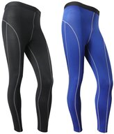 Funycell Men's Compression Tight Pants Athletic Running Leggings 2 Pack Black Blue US XL