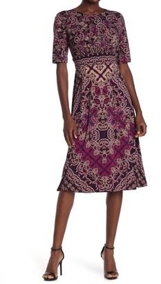 London Times Folkloric Diamond Printed Jersey Dress