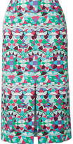 Emilio Pucci Printed Cotton-poplin Midi Skirt - Mint
