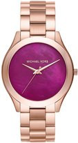 Michael Kors Women's Slim Runway Rose tone Three Hand Watch