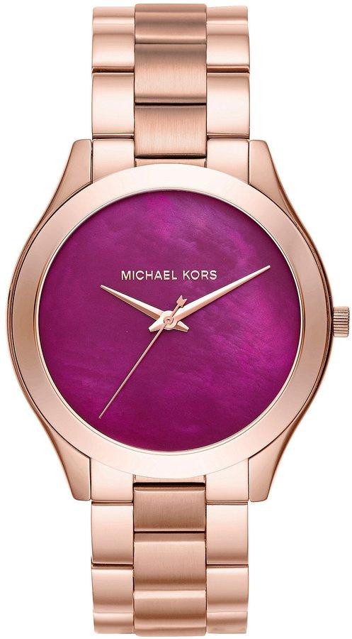 Michael Kors Women's Slim Runway Rose tone Three Hand Watch