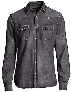 2f696b91df The Kooples Washed Denim Long Sleeve Shirt - ShopStyle