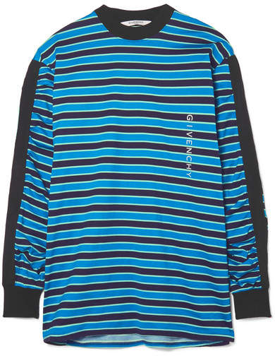 Givenchy Twill-trimmed Printed Striped Cotton-jersey Top - Black