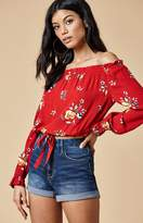 KENDALL + KYLIE Kendall & Kylie Drawstring Off-The-Shoulder Top