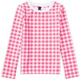 Ralph Lauren Girls' UPF 50+ Gingham Rash Guard - Little Kid