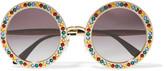 Dolce & Gabbana Crystal-embellished Round-frame Gold-tone Sunglasses - One size