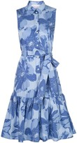 Carolina Herrera Floral Print Ruffle Shirt Dress