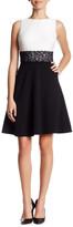 London Times Sleeveless A-Line Colorblock Dress (Petite)