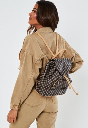 Missguided Brown Printed Faux Leather Backpack