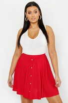Thumbnail for your product : boohoo Plus Button Front Ribbed Skater Mini Skirt