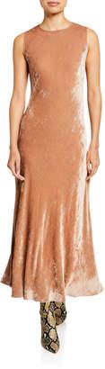 Sies Marjan Velvet Corded Crewneck Dress, Tan