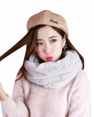 Dianshaoa Ladies & Girls Winter Neck Warmer Circle Faux Fur Cowl Plain Snood Scarf Light Grey 60-80cm