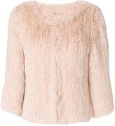 Yves Salomon Accessories - collarless cropped fur jacket - women - Rabbit Fur - 36