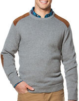 Chaps Combed Cotton Crewneck Patch Sweater