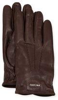 Prada Napa Leather Gloves w/ Logo, Brown