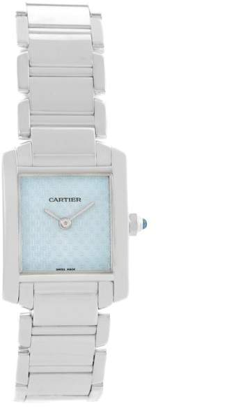 Cartier Tank Francaise 2403 18K White Gold & Blue Dial 20mm Womens Watch
