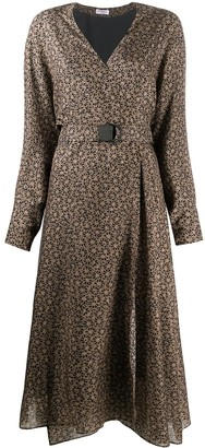 Brunello Cucinelli Floral-Print Wrap Silk Dress