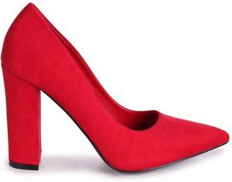 Tiffany & Co. Linzi Red Suede Block High Heel Heel Court Shoe