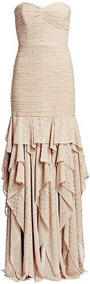 Halston Strapless Pleated Metallic Ruched & Ruffled Column Gown