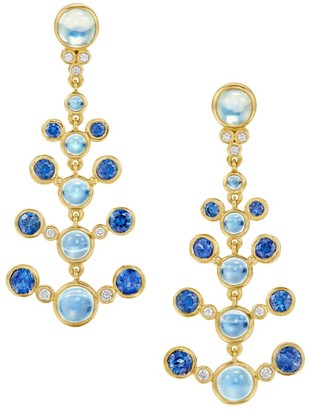 Temple St. Clair Celestial 18K Yellow Gold, Diamond, Moonstone & Sapphire Galaxy Chandelier Earrings